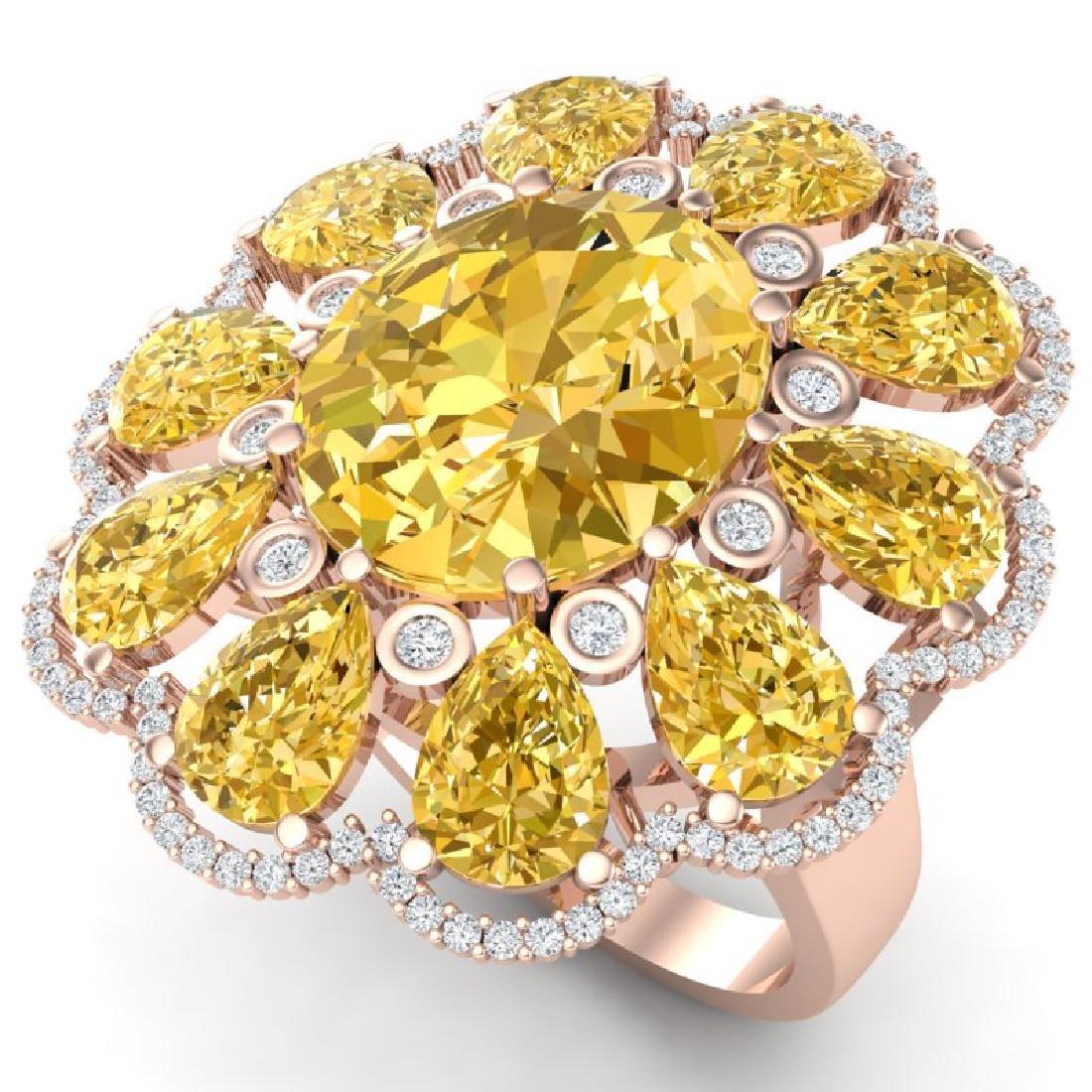 18.53 CTW Royalty Canary Citrine & VS Diamond Ring 18K