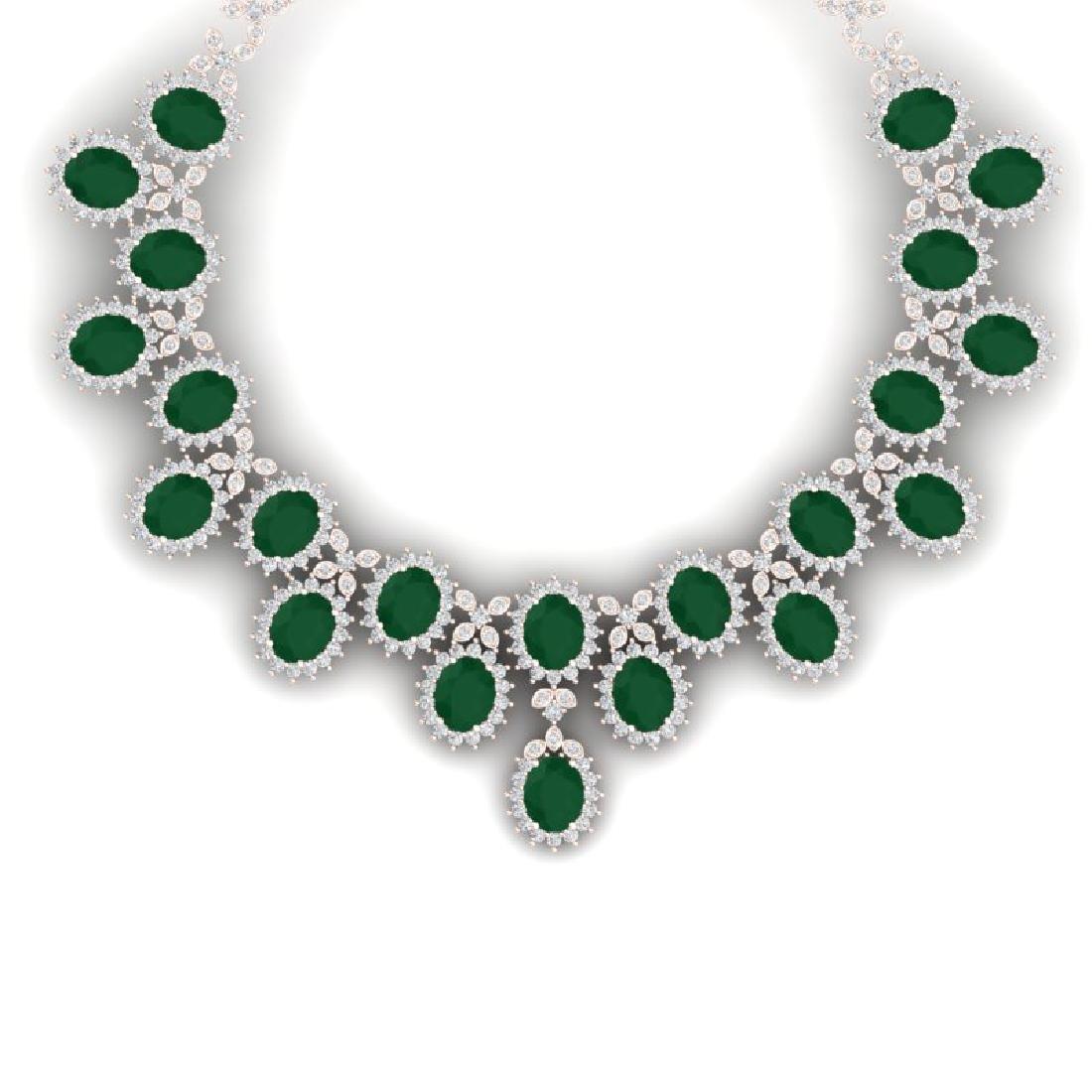 81 CTW Royalty Emerald & VS Diamond Necklace 18K Rose