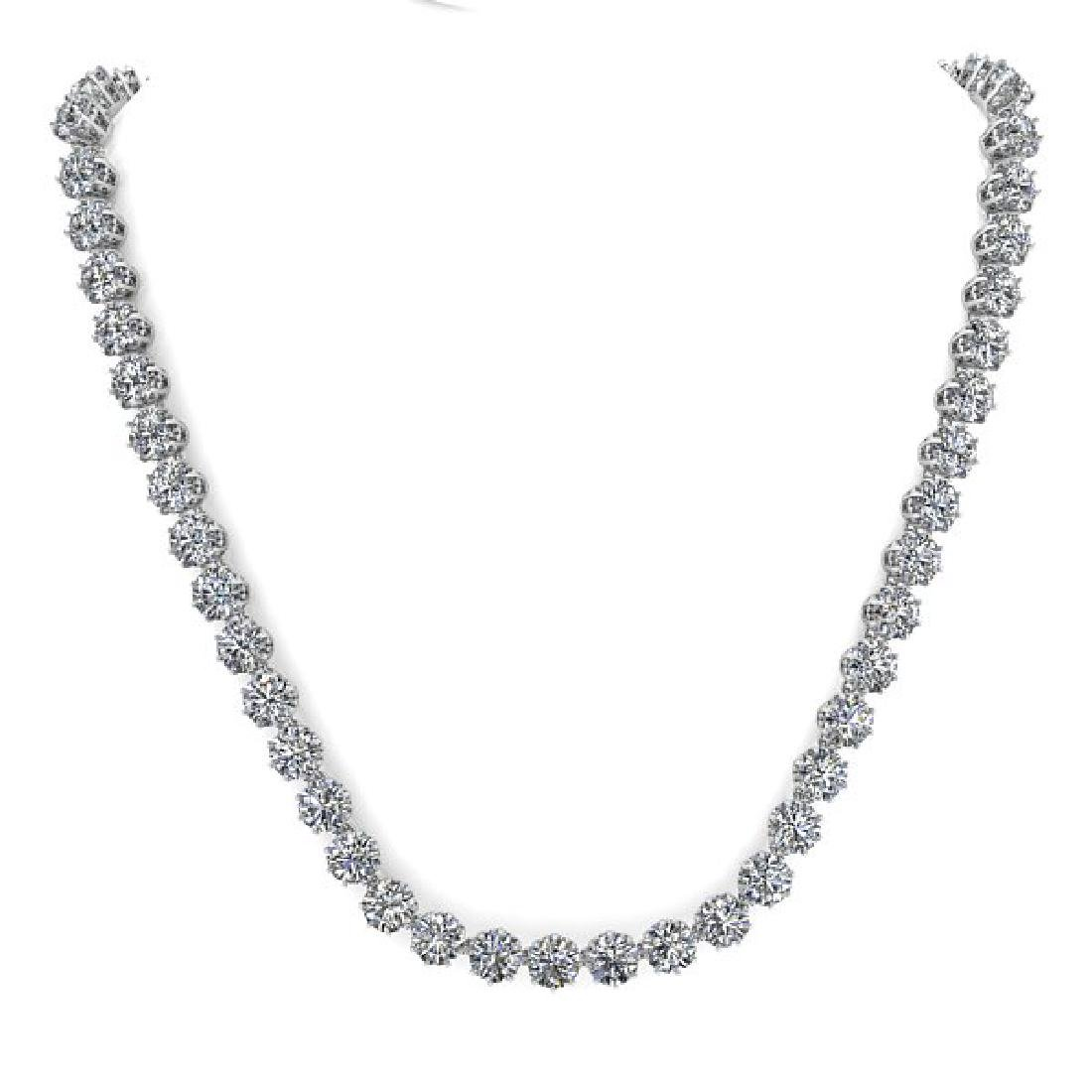 30 CTW SI Certified Diamond Necklace 14K White Gold - 2