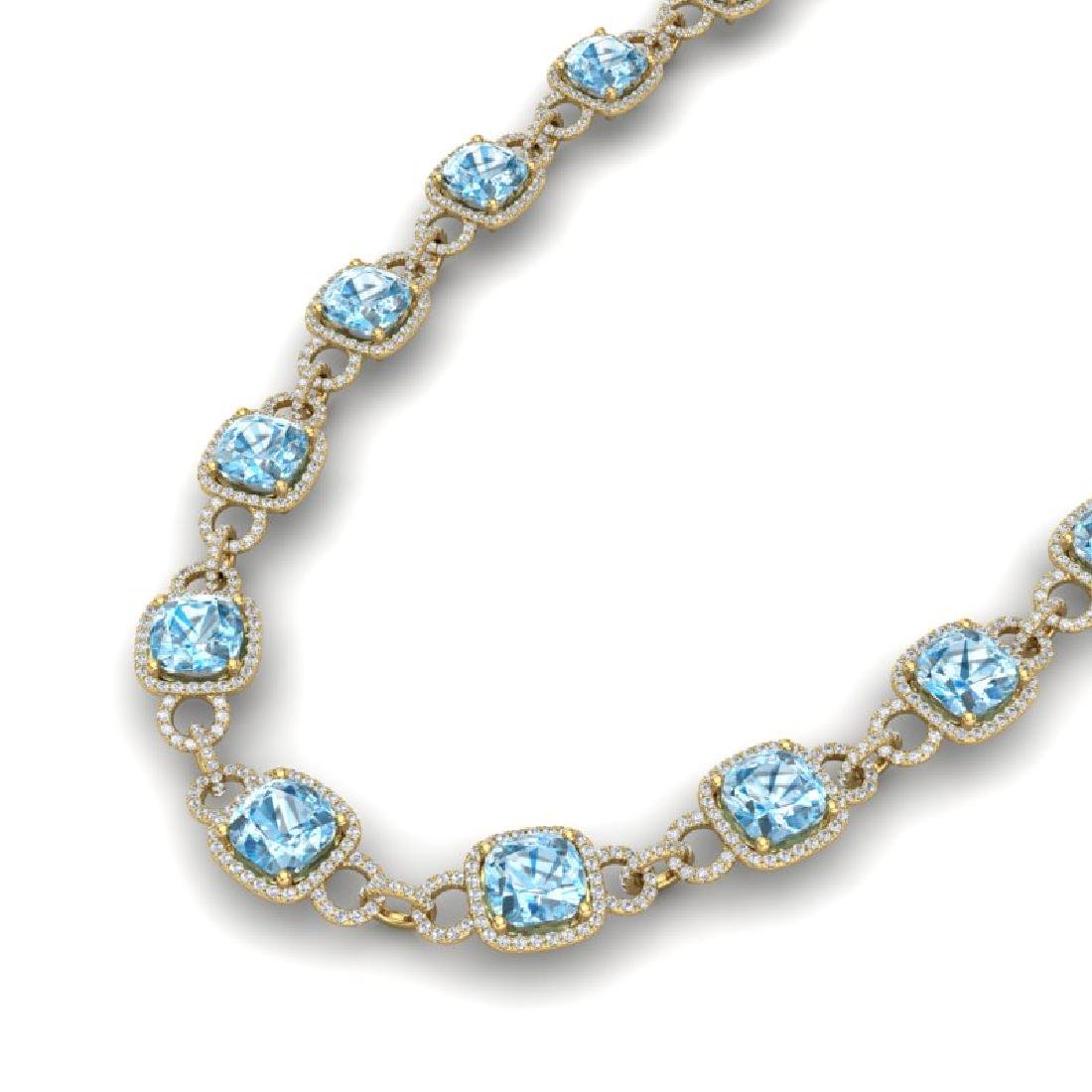 66 CTW Topaz & VS/SI Diamond Necklace 14K Yellow Gold