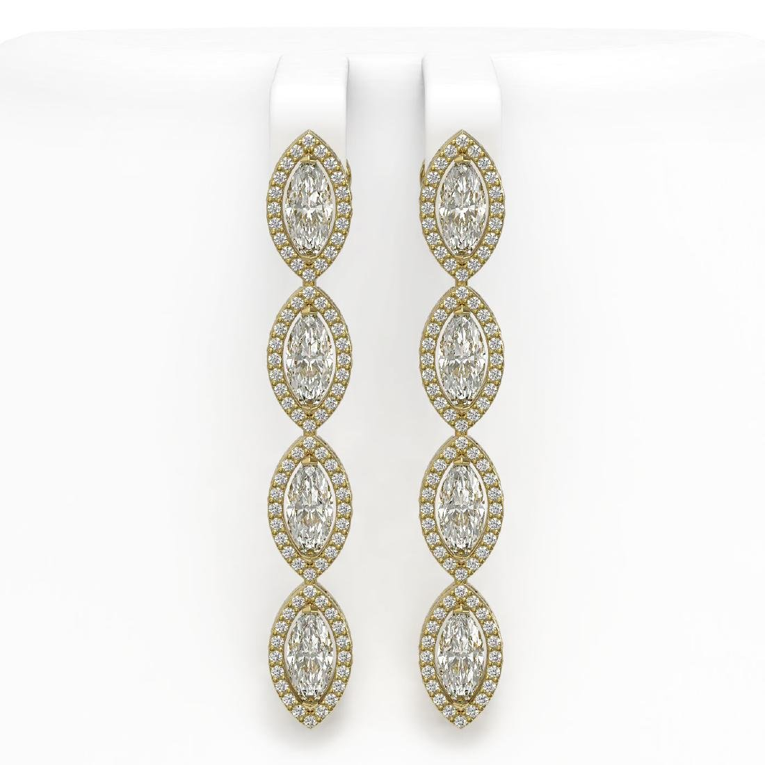 6.08 CTW Marquise Diamond Designer Earrings 18K Yellow