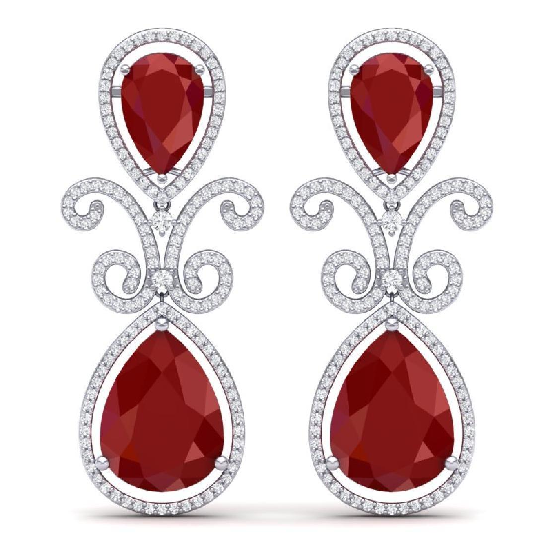31.6 CTW Royalty Designer Ruby & VS Diamond Earrings