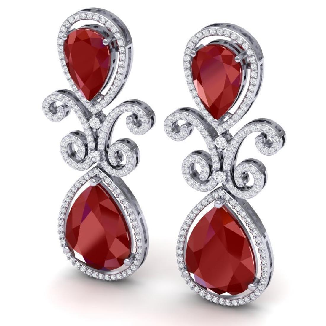 31.6 CTW Royalty Designer Ruby & VS Diamond Earrings - 2