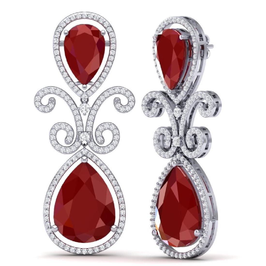 31.6 CTW Royalty Designer Ruby & VS Diamond Earrings - 3