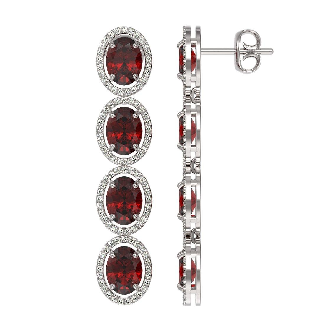 13.64 CTW Garnet & Diamond Halo Earrings 10K White Gold