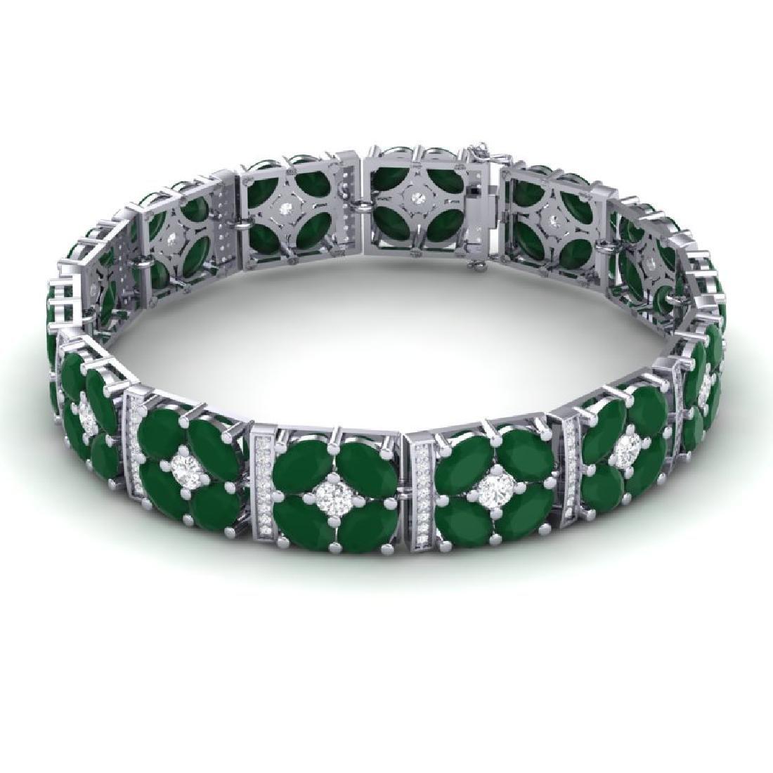 48.04 CTW Royalty Emerald & VS Diamond Bracelet 18K - 2