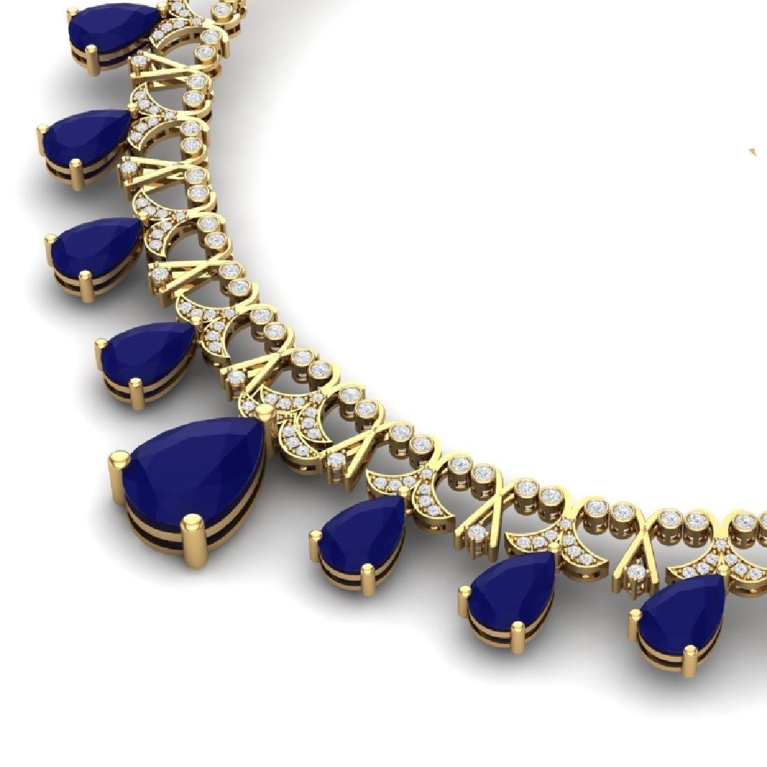 56.94 CTW Royalty Sapphire & VS Diamond Necklace 18K - 2