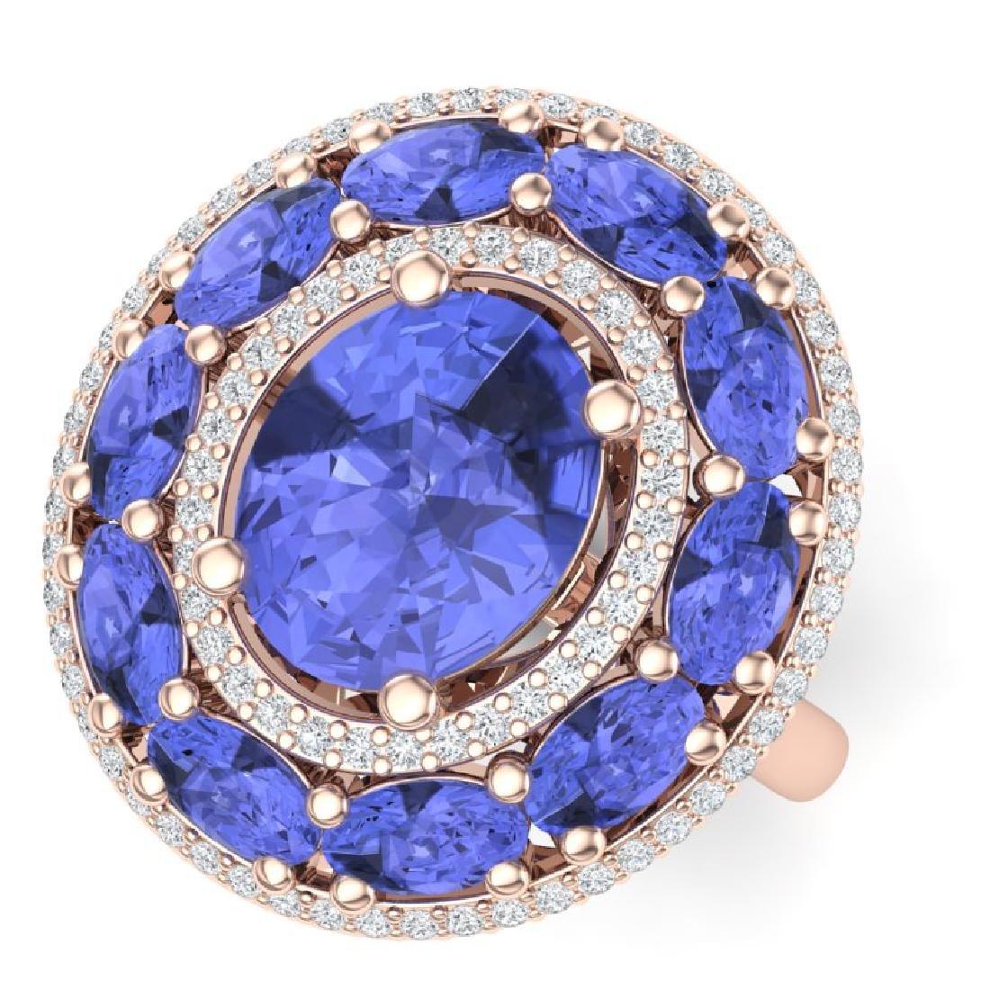 8.49 CTW Royalty Tanzanite & VS Diamond Ring 18K Rose