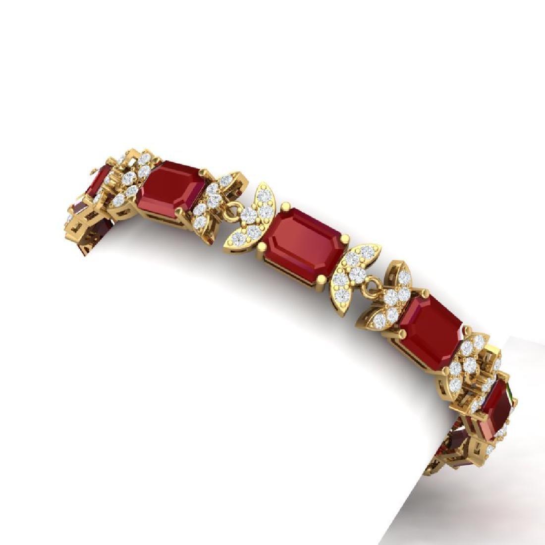 38.13 CTW Royalty Ruby & VS Diamond Bracelet 18K Yellow