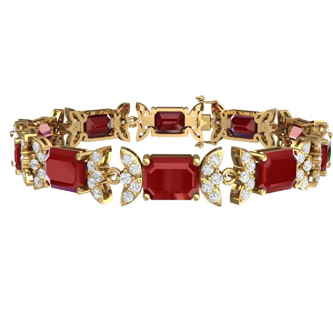 38.13 CTW Royalty Ruby & VS Diamond Bracelet 18K Yellow - 2
