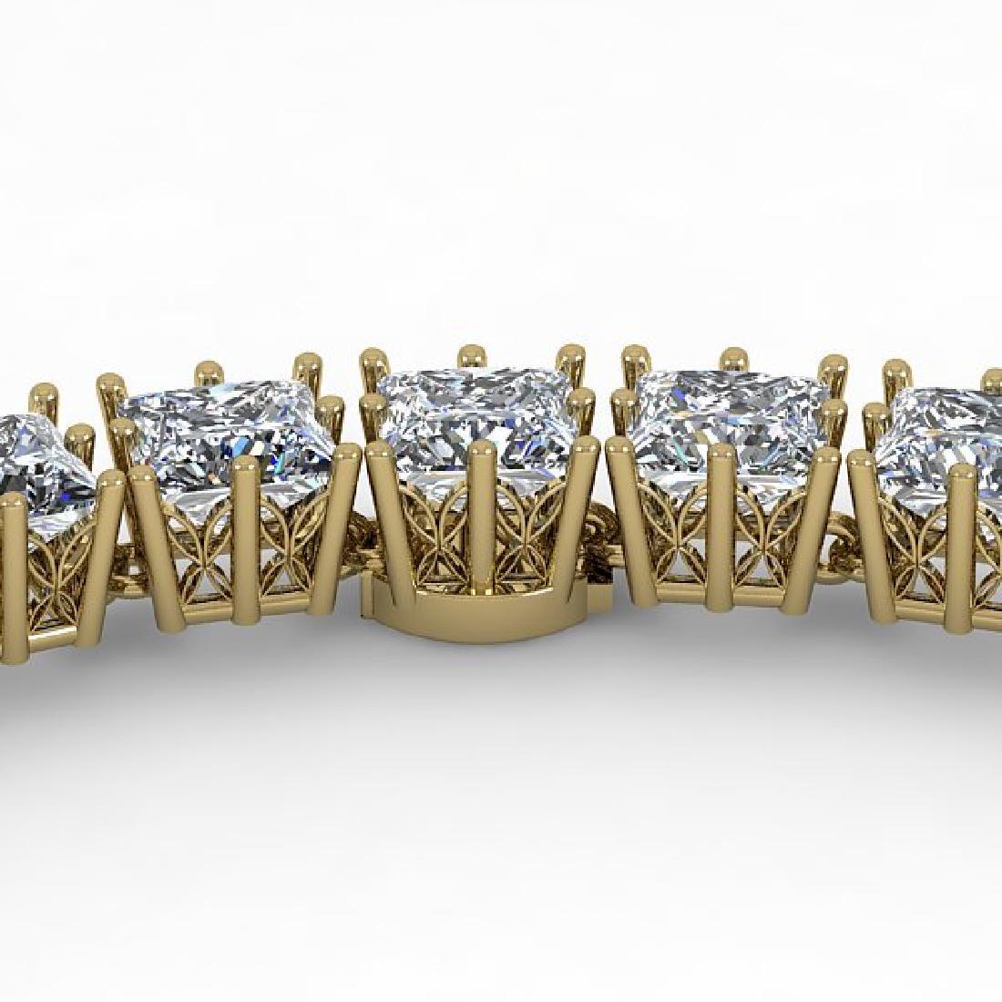 40 CTW Princess SI Diamond Necklace 18K Yellow Gold