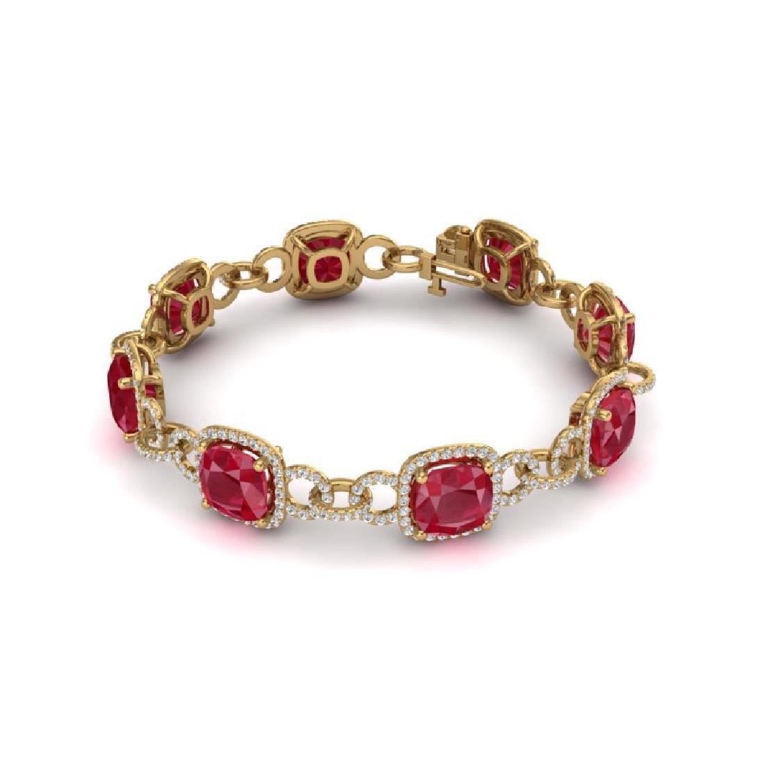 25 CTW Ruby & VS/SI Diamond Bracelet 14K Yellow Gold