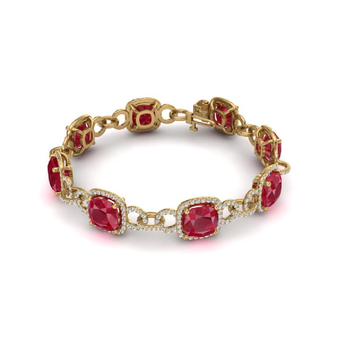 25 CTW Ruby & VS/SI Diamond Bracelet 14K Yellow Gold