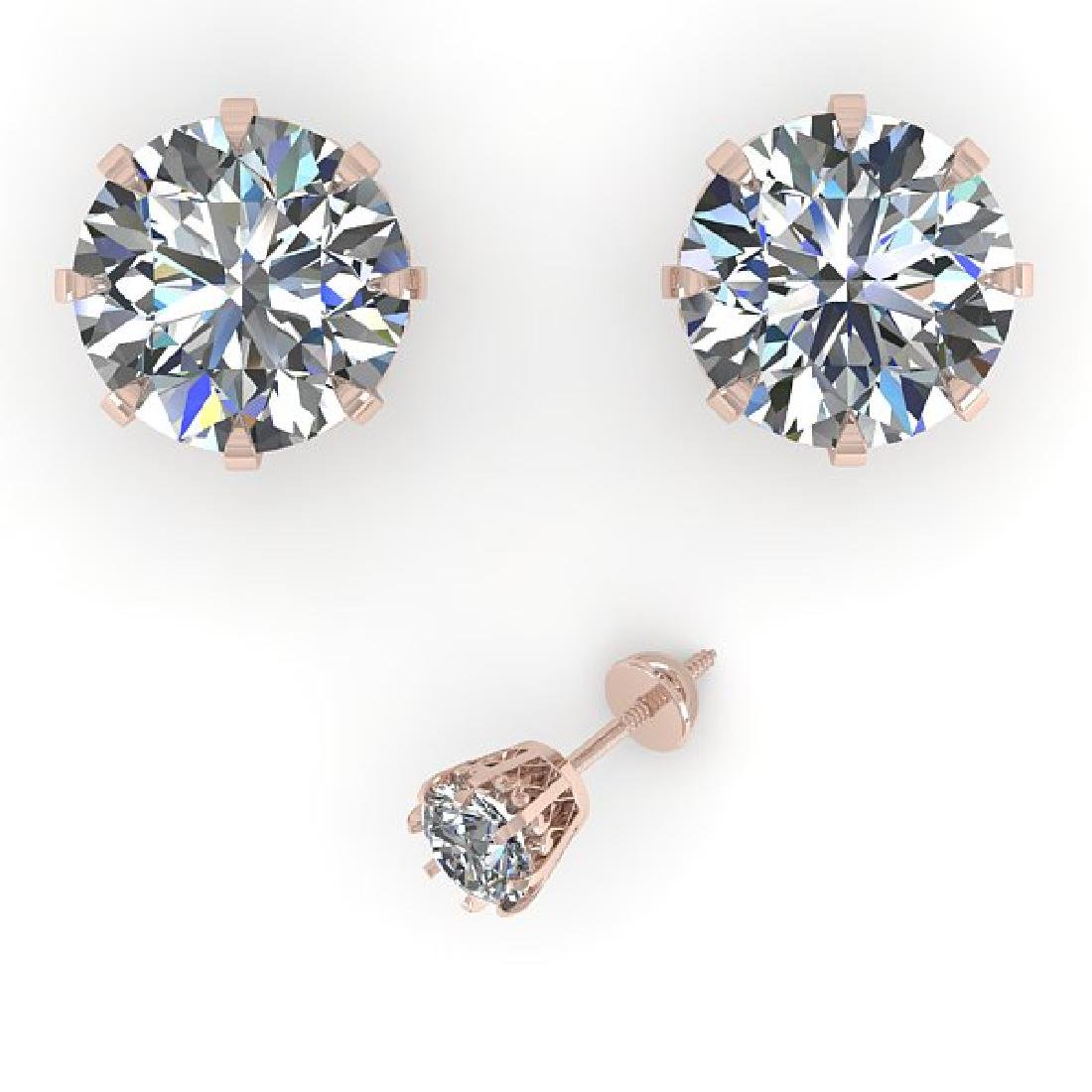 3 CTW VS/SI Diamond Stud Solitaire Earrings 14K Rose - 2