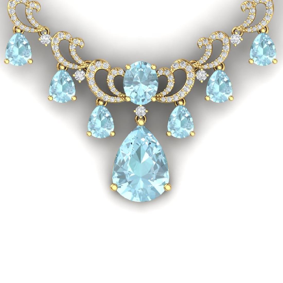 34.69 CTW Royalty Sky Topaz & VS Diamond Necklace 18K