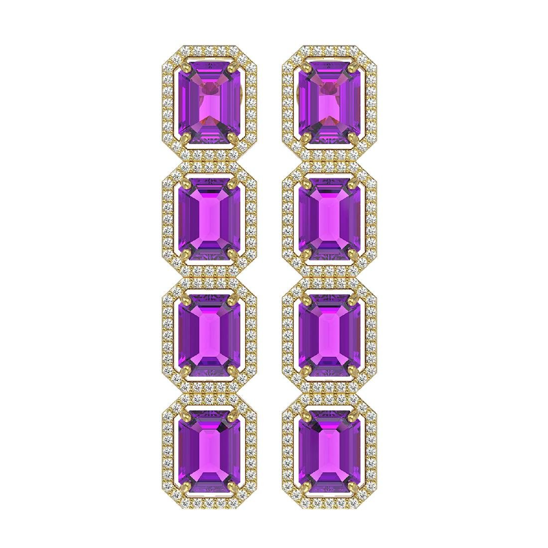 18.59 CTW Amethyst & Diamond Halo Earrings 10K Yellow