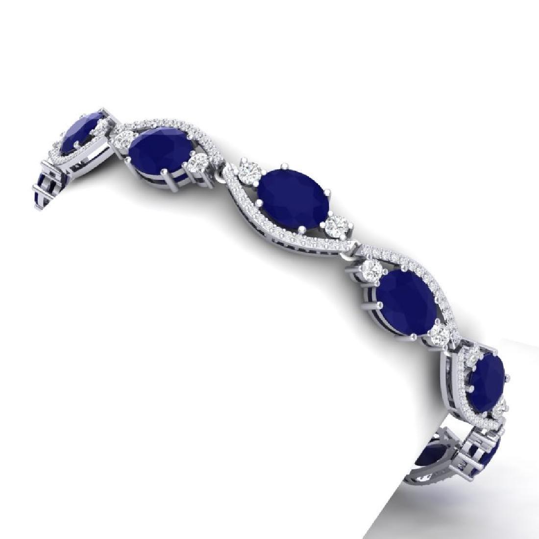 22.15 CTW Royalty Sapphire & VS Diamond Bracelet 18K - 2