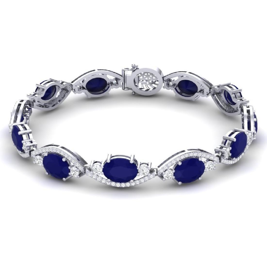 22.15 CTW Royalty Sapphire & VS Diamond Bracelet 18K - 3