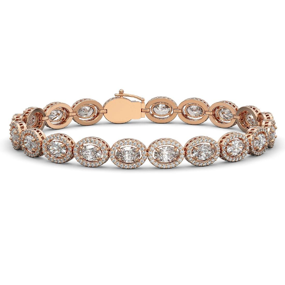 15.20 CTW Oval Diamond Designer Bracelet 18K Rose Gold