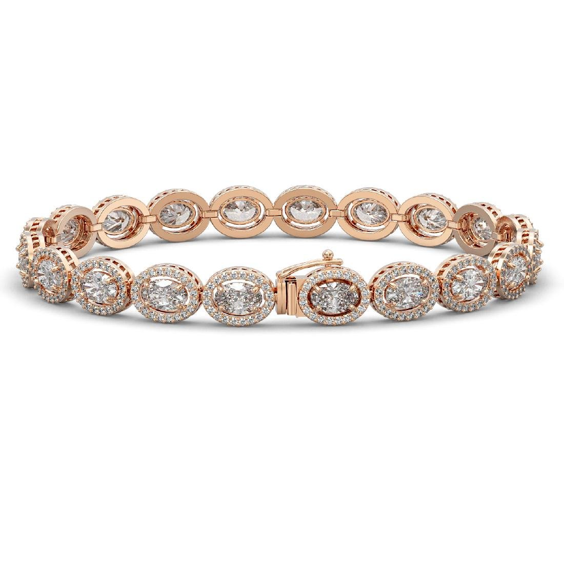 15.20 CTW Oval Diamond Designer Bracelet 18K Rose Gold - 2