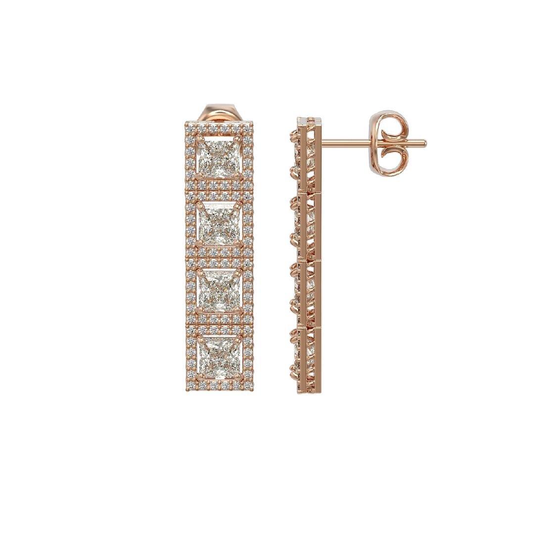 6.08 CTW Princess Diamond Designer Earrings 18K Rose - 2