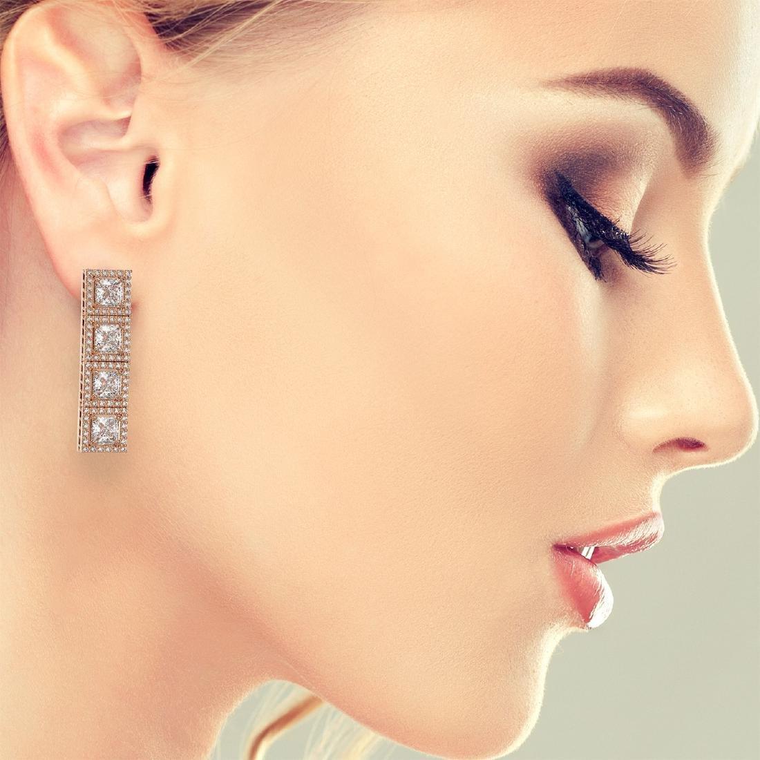 6.08 CTW Princess Diamond Designer Earrings 18K Rose - 3