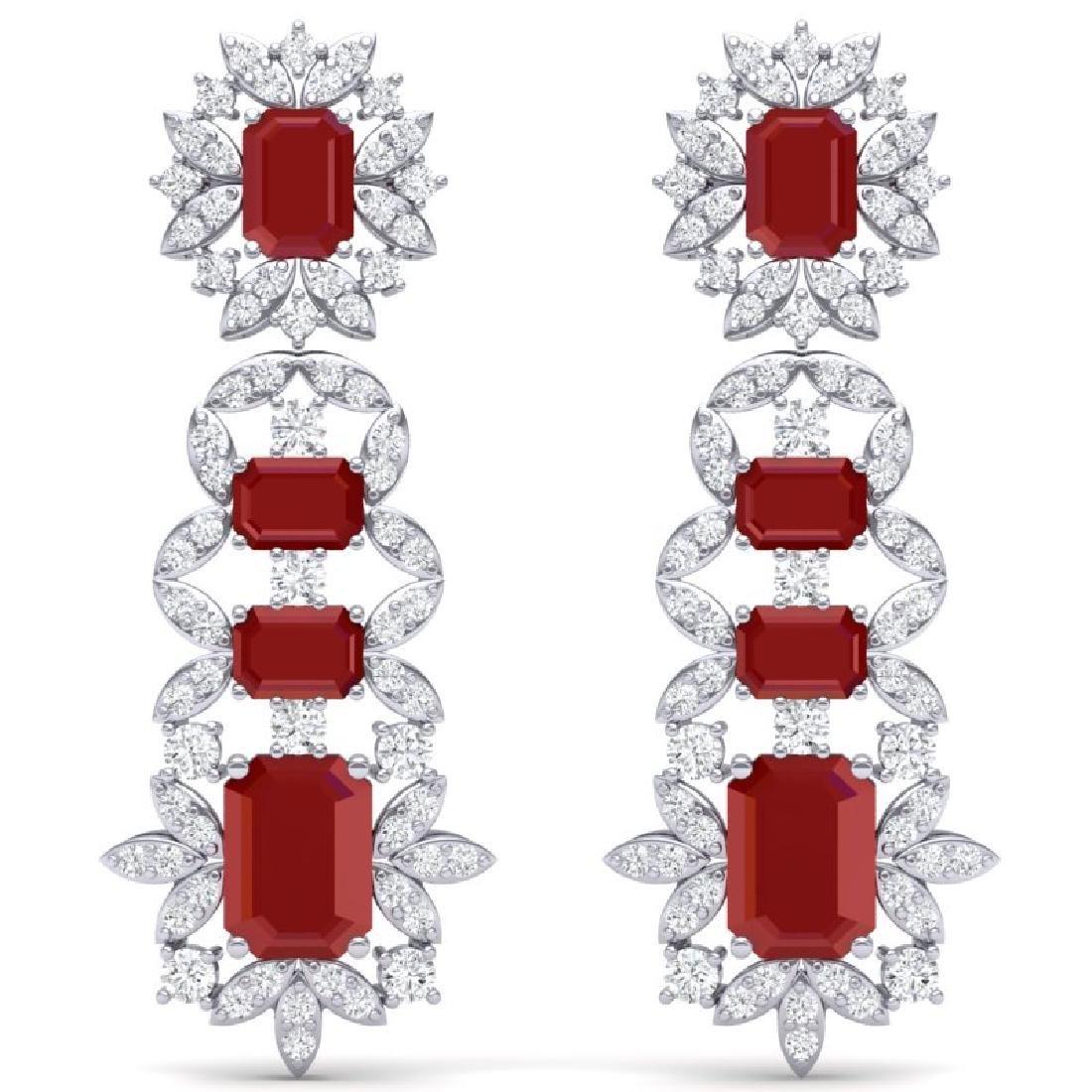 30.25 CTW Royalty Designer Ruby & VS Diamond Earrings