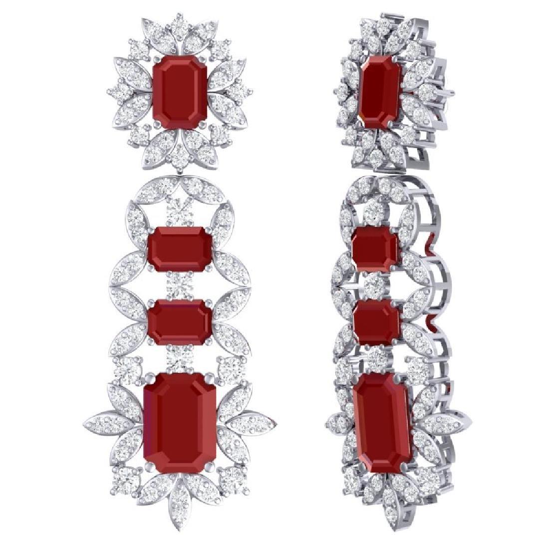 30.25 CTW Royalty Designer Ruby & VS Diamond Earrings - 3
