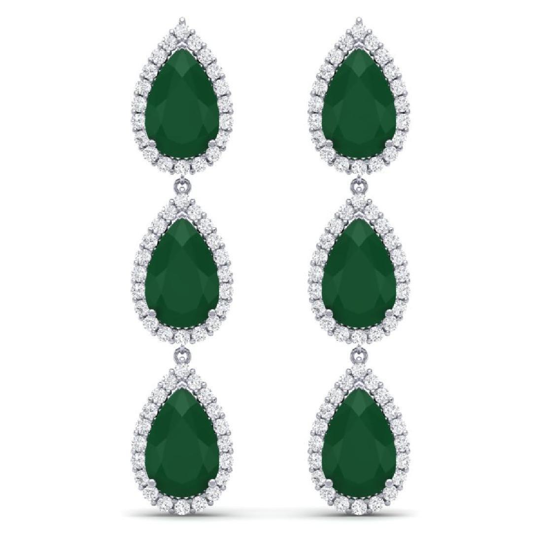 27.06 CTW Royalty Emerald & VS Diamond Earrings 18K