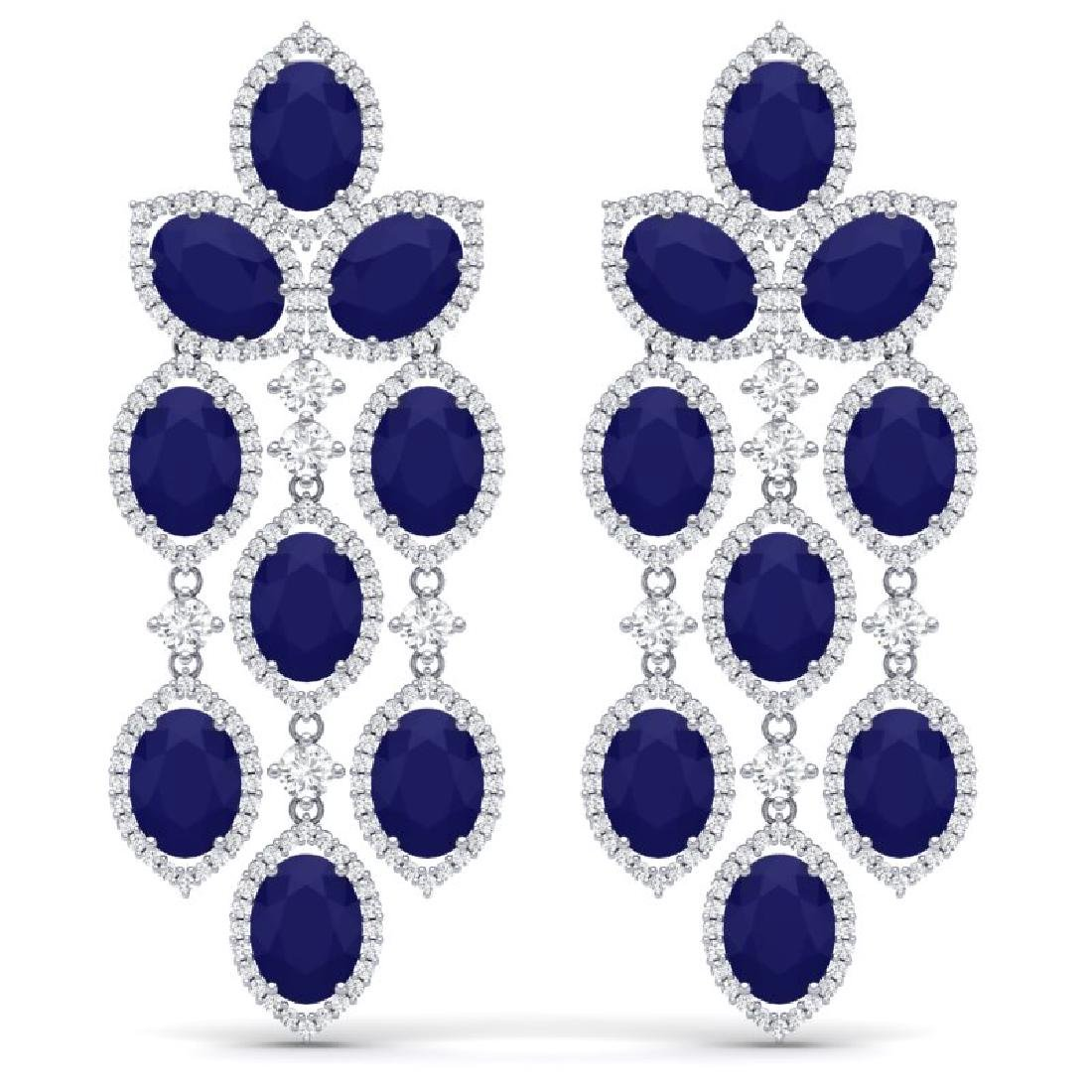 26.15 CTW Royalty Sapphire & VS Diamond Earrings 18K