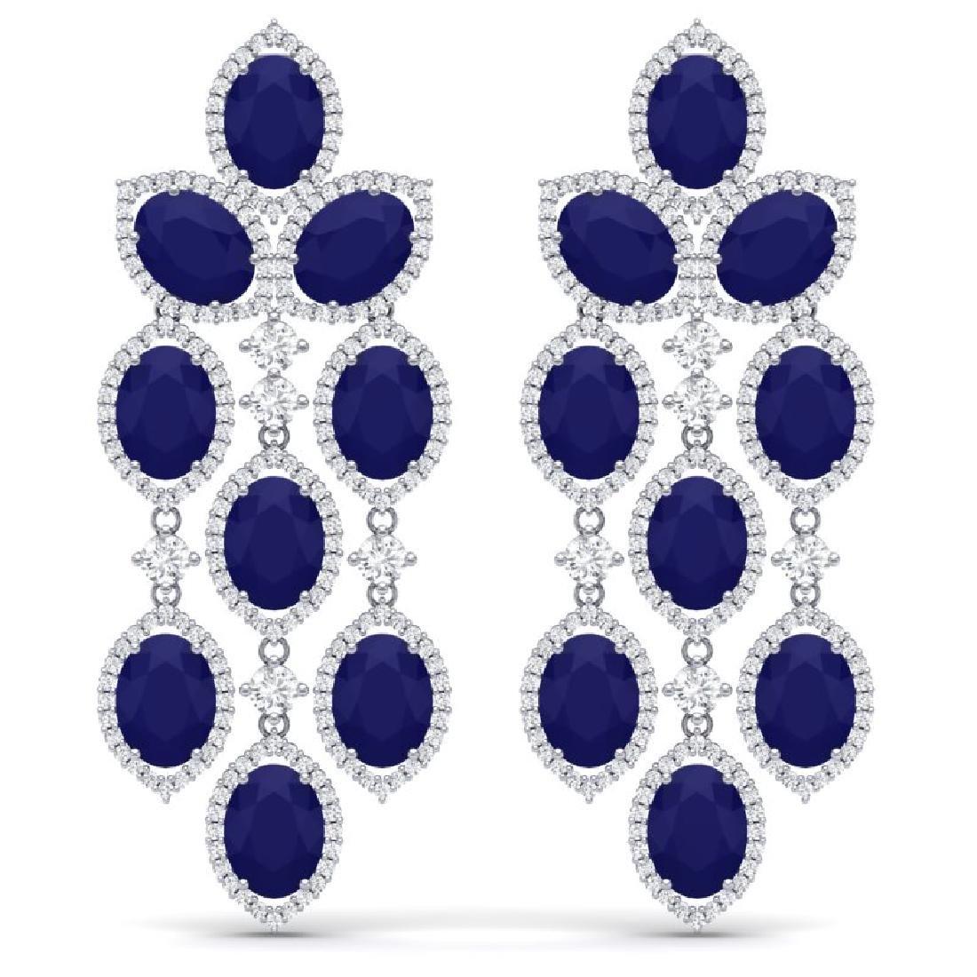 26.15 CTW Royalty Sapphire & VS Diamond Earrings 18K