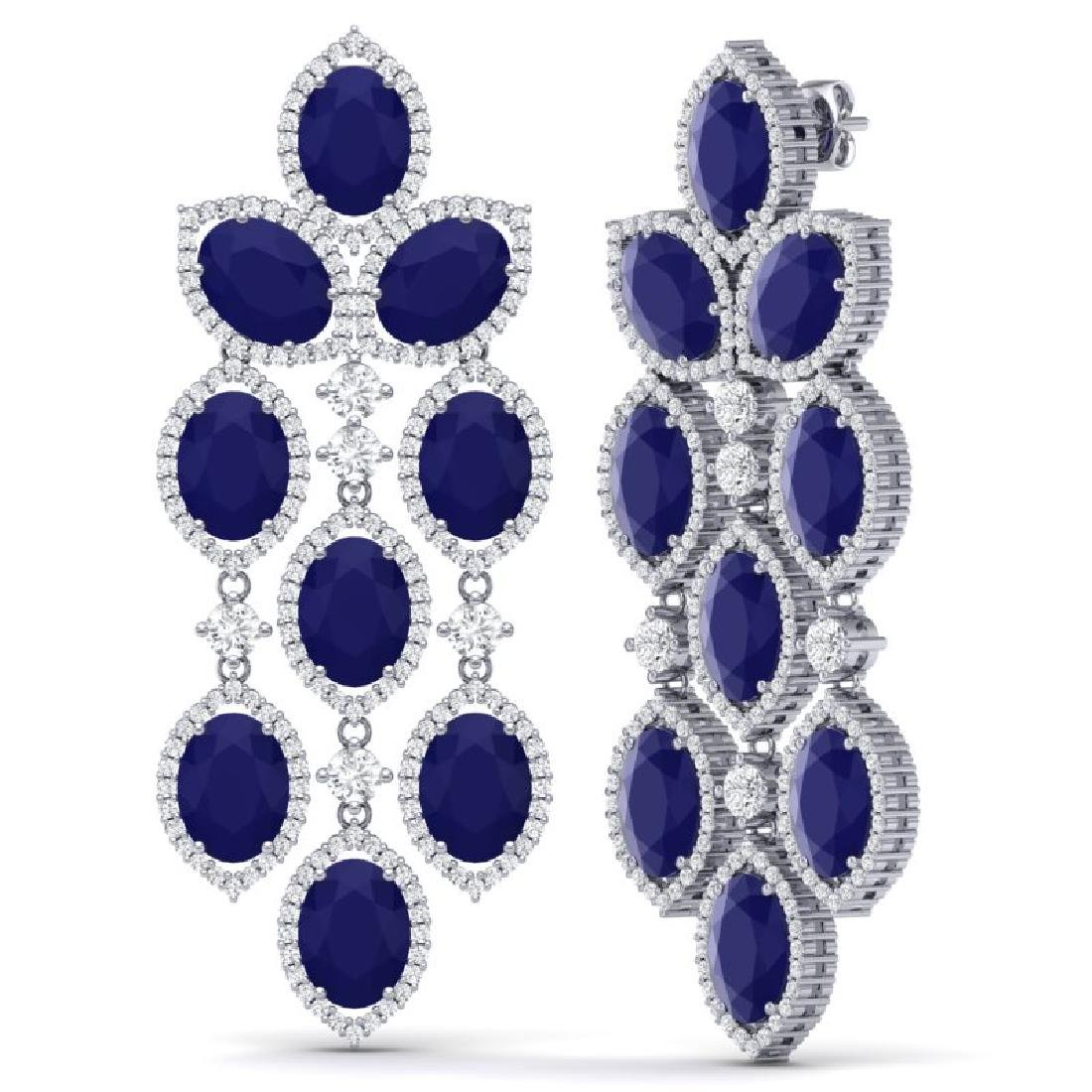 26.15 CTW Royalty Sapphire & VS Diamond Earrings 18K - 2