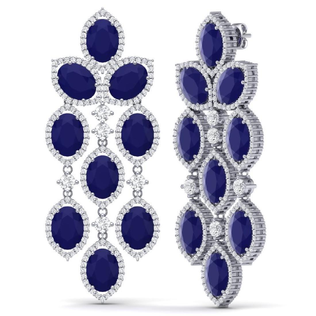 26.15 CTW Royalty Sapphire & VS Diamond Earrings 18K - 2