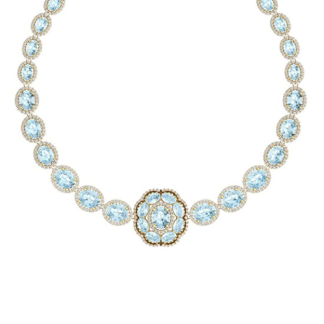 52.67 CTW Royalty Sky Topaz & VS Diamond Necklace 18K