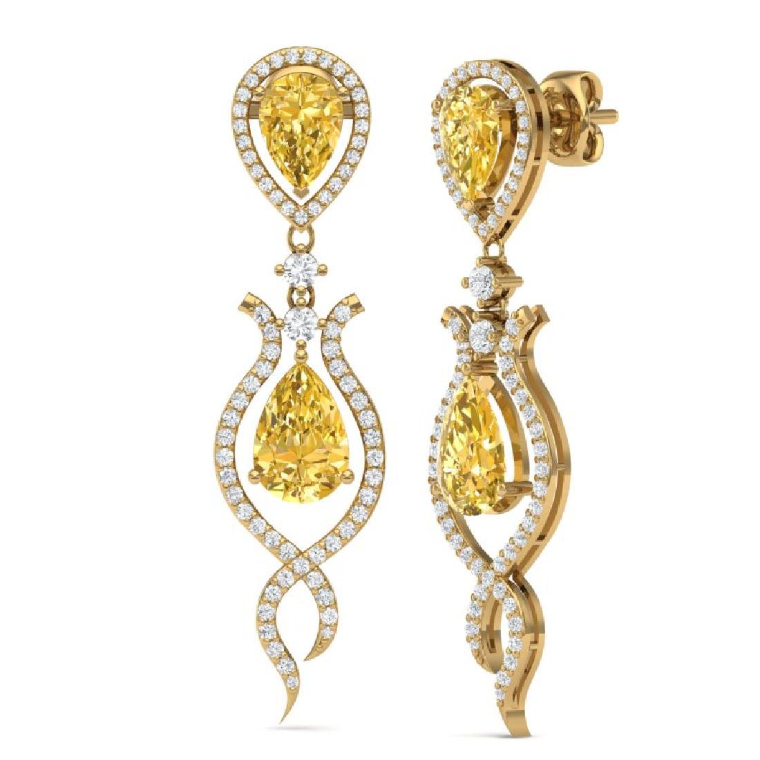 14.09 CTW Royalty Canary Citrine & VS Diamond Earrings - 2