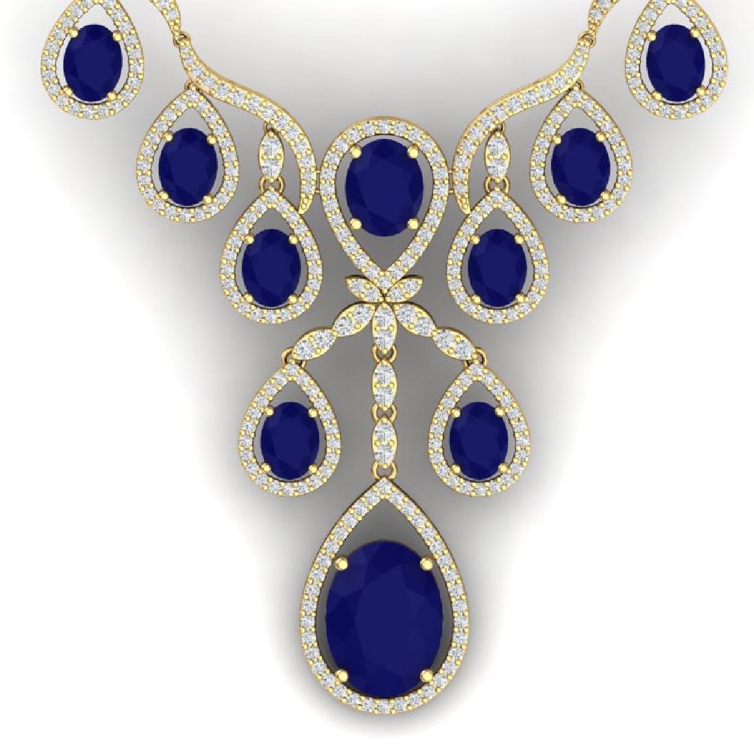 37.66 CTW Royalty Sapphire & VS Diamond Necklace 18K