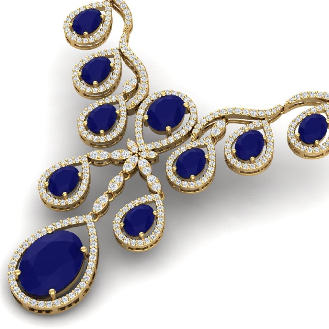 37.66 CTW Royalty Sapphire & VS Diamond Necklace 18K - 2