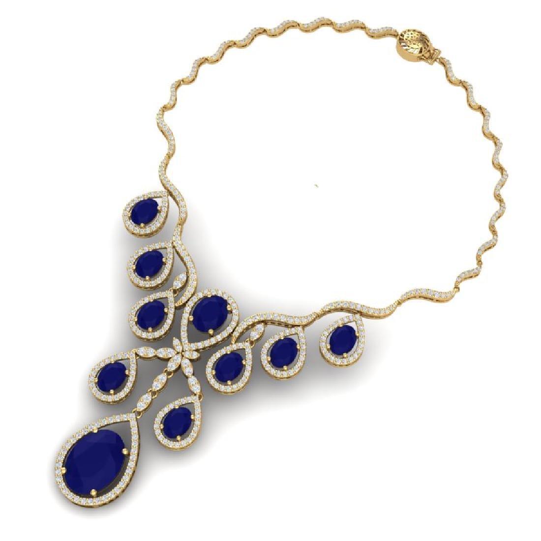 37.66 CTW Royalty Sapphire & VS Diamond Necklace 18K - 3