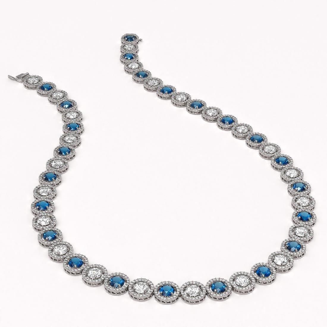 35.60 CTW Blue & White Diamond Designer Necklace 18K