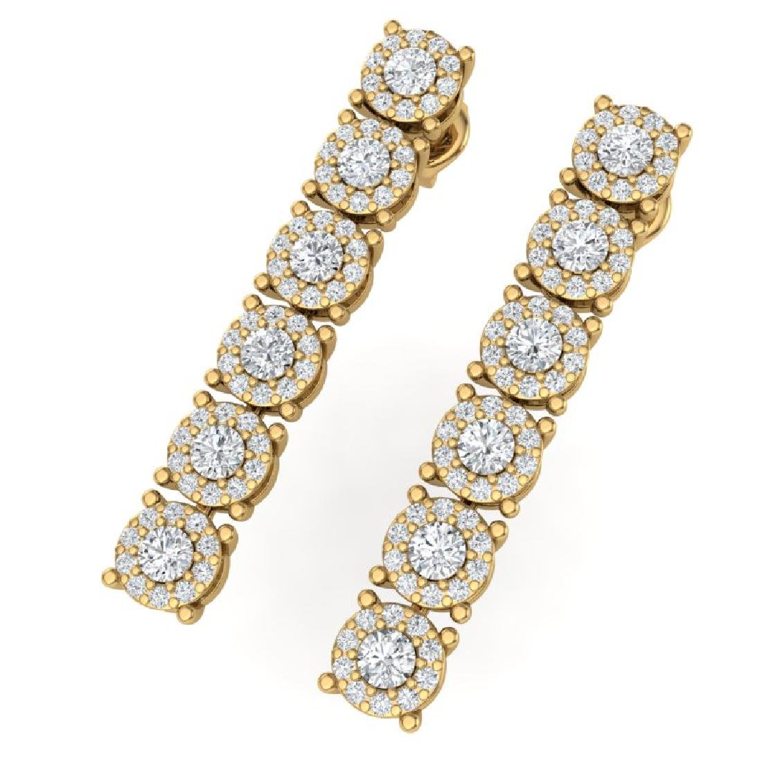 2 CTW Certified SI/I Diamond Halo Earrings 18K Yellow