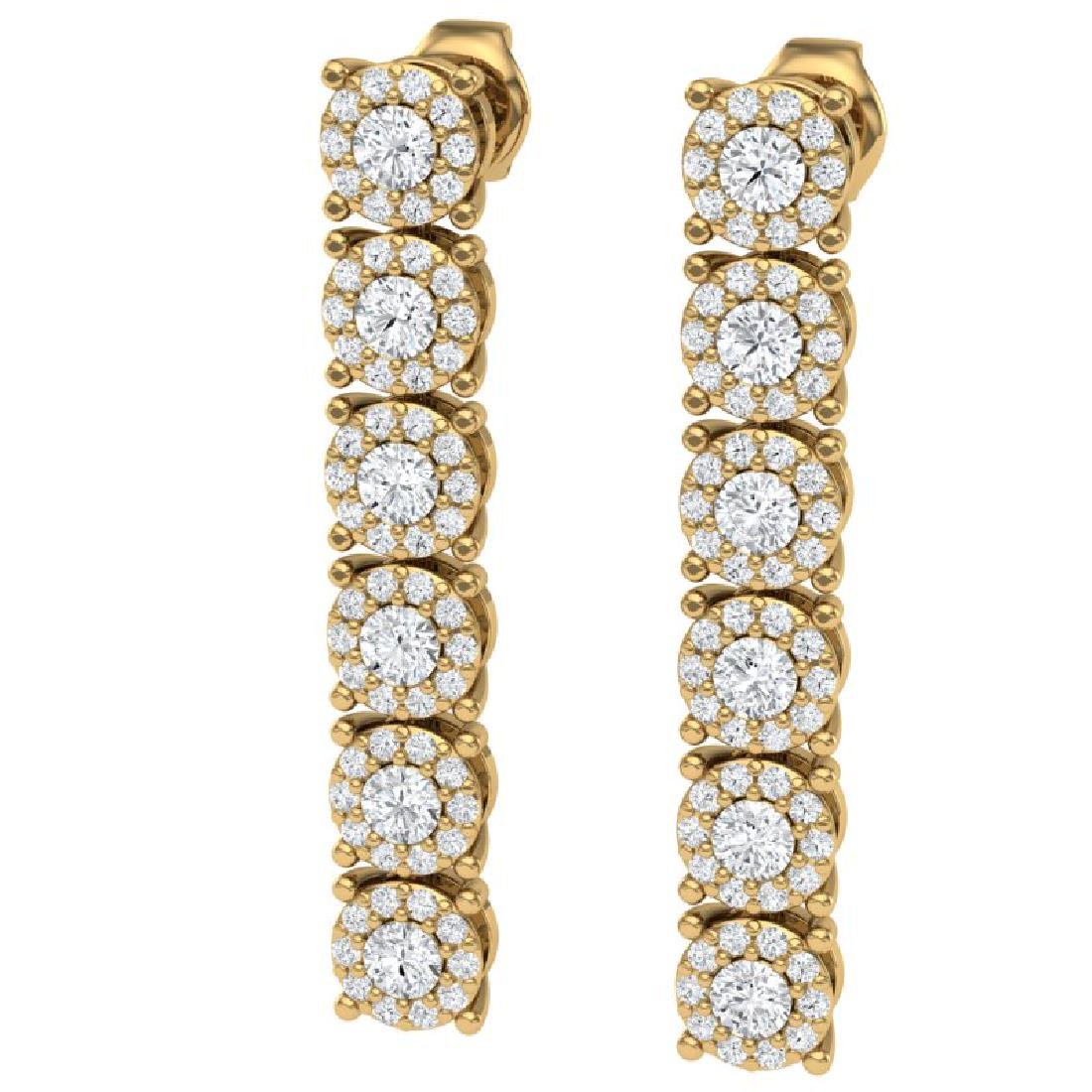 2 CTW Certified SI/I Diamond Halo Earrings 18K Yellow - 2