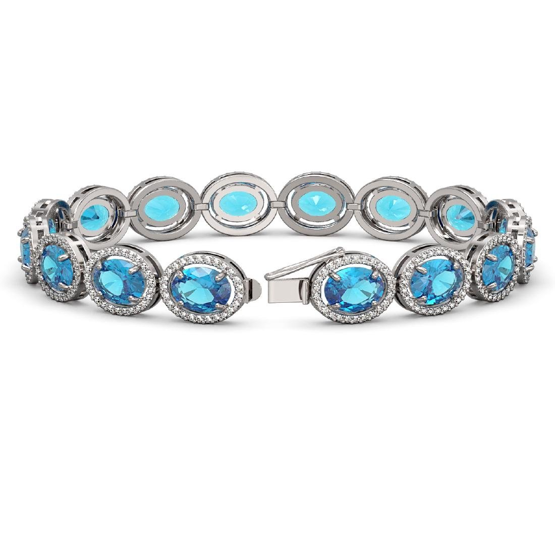29.53 CTW Swiss Topaz & Diamond Halo Bracelet 10K White - 2