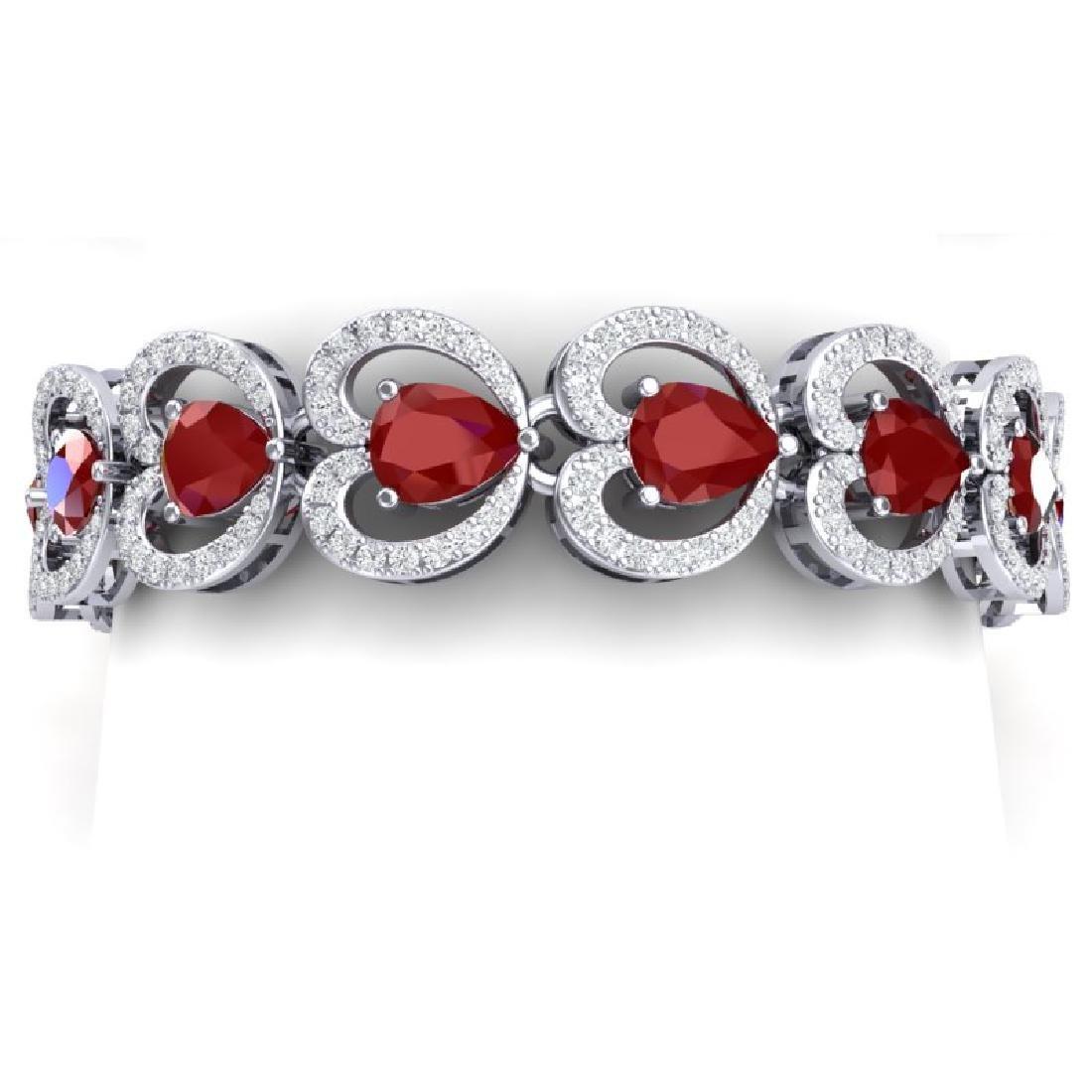 32.15 CTW Royalty Ruby & VS Diamond Bracelet 18K White
