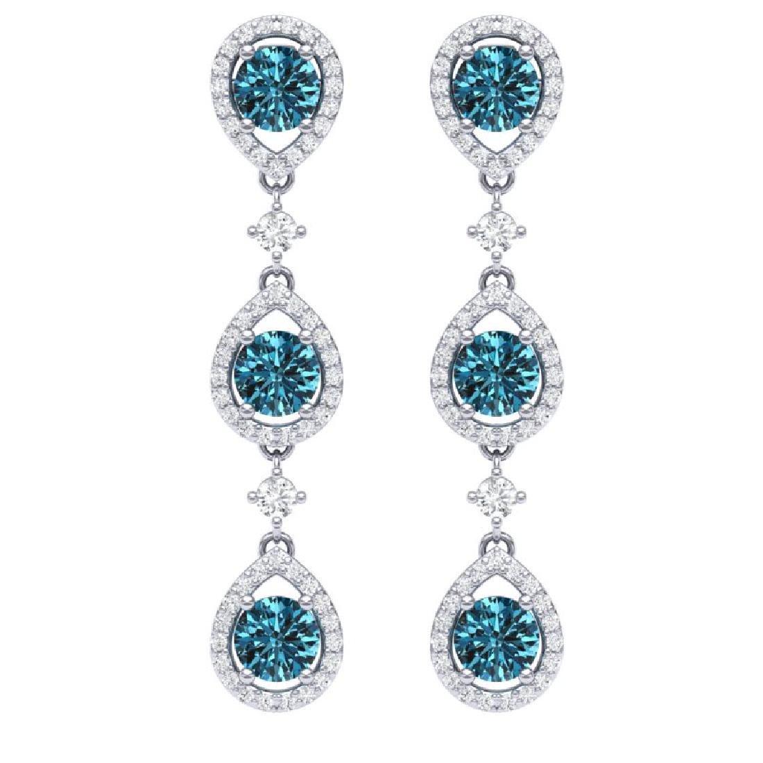 5.28 CTW Royalty Fancy Blue, SI Diamond Earrings 18K