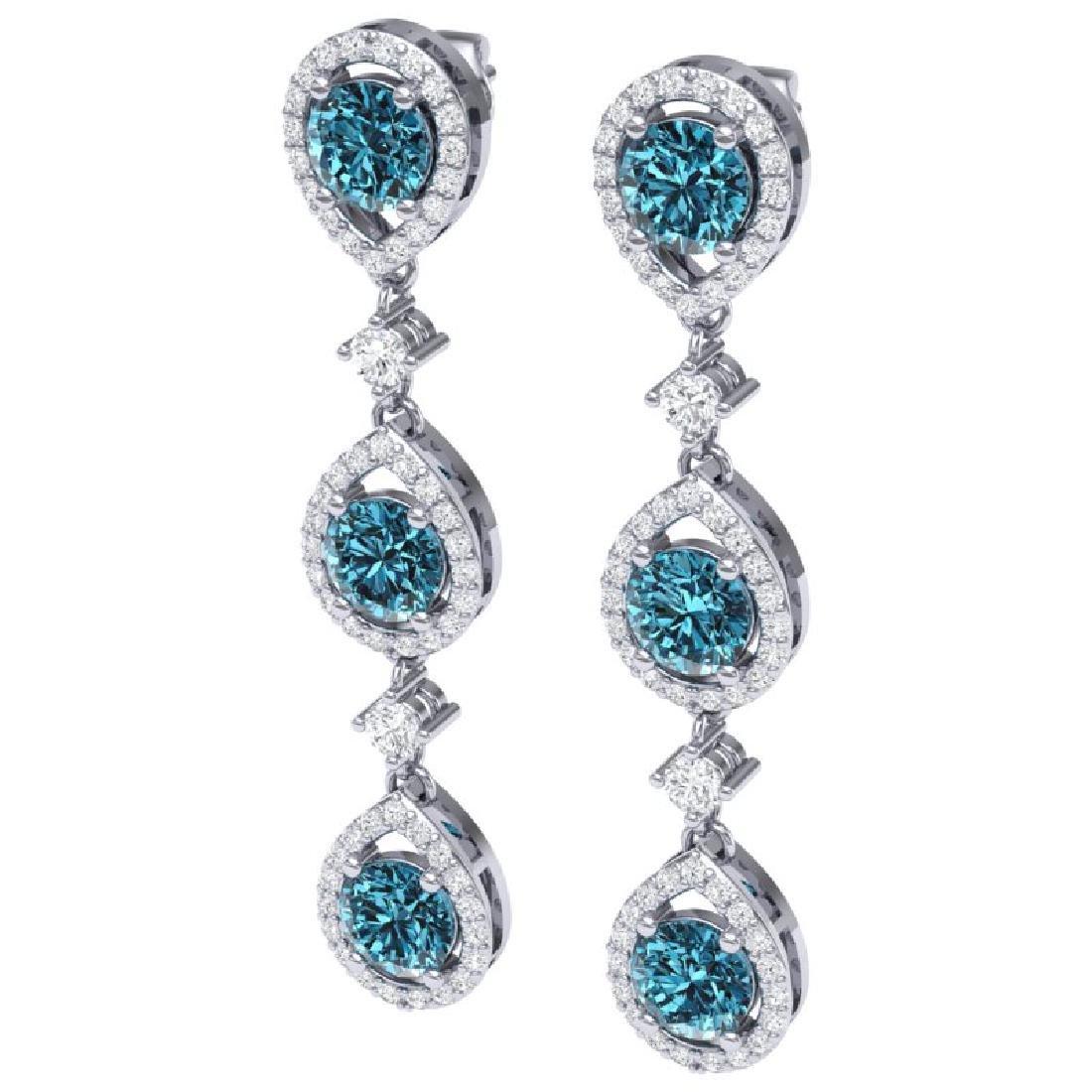 5.28 CTW Royalty Fancy Blue, SI Diamond Earrings 18K - 2