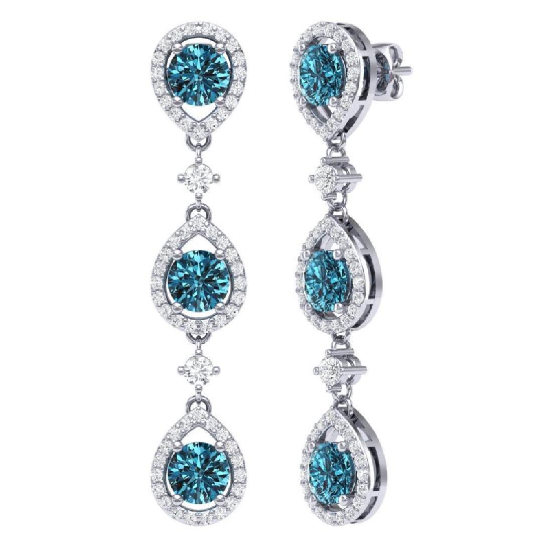 5.28 CTW Royalty Fancy Blue, SI Diamond Earrings 18K - 3