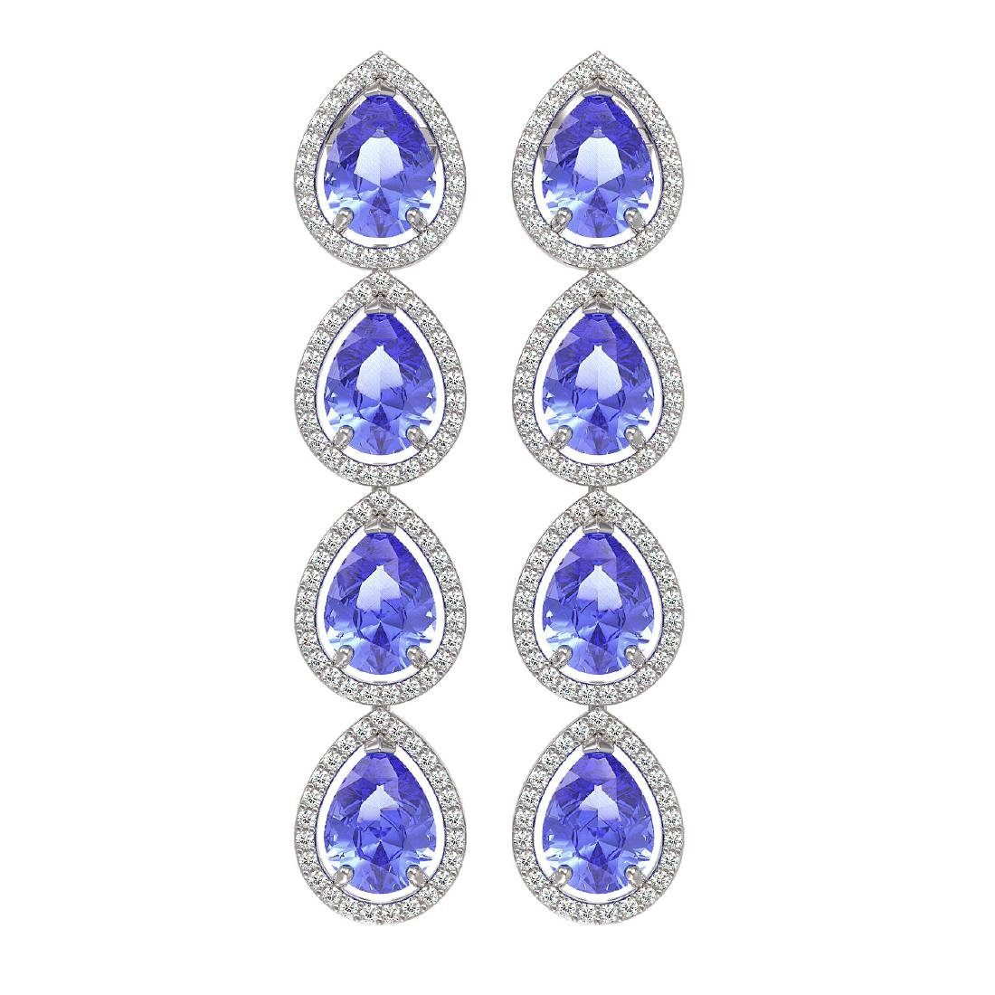 11.2 CTW Tanzanite & Diamond Halo Earrings 10K White