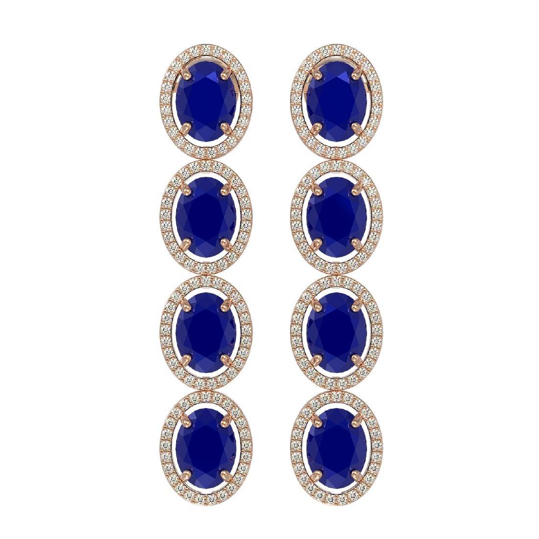 15.68 CTW Sapphire & Diamond Halo Earrings 10K Rose
