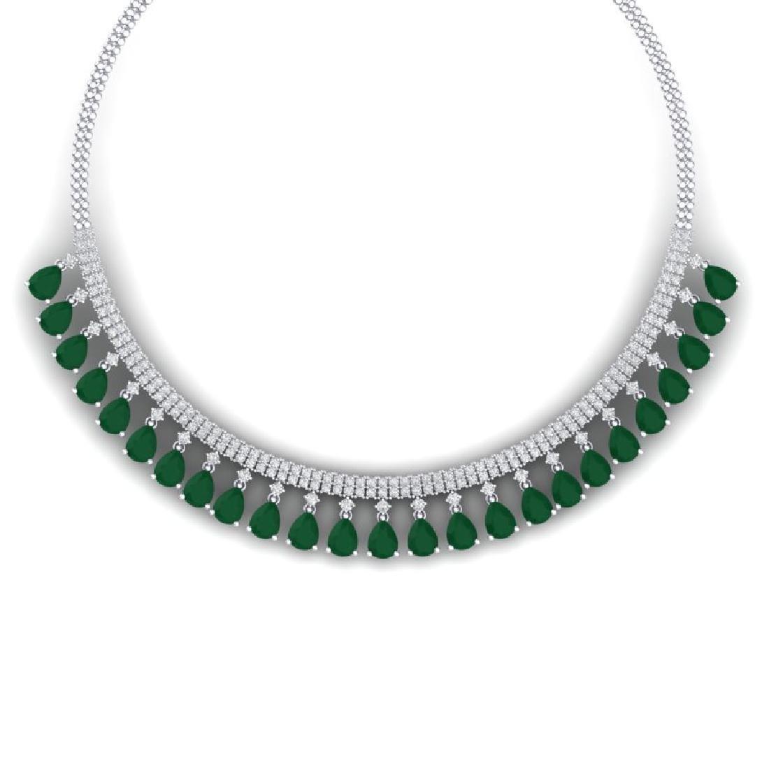 51.75 CTW Royalty Emerald & VS Diamond Necklace 18K