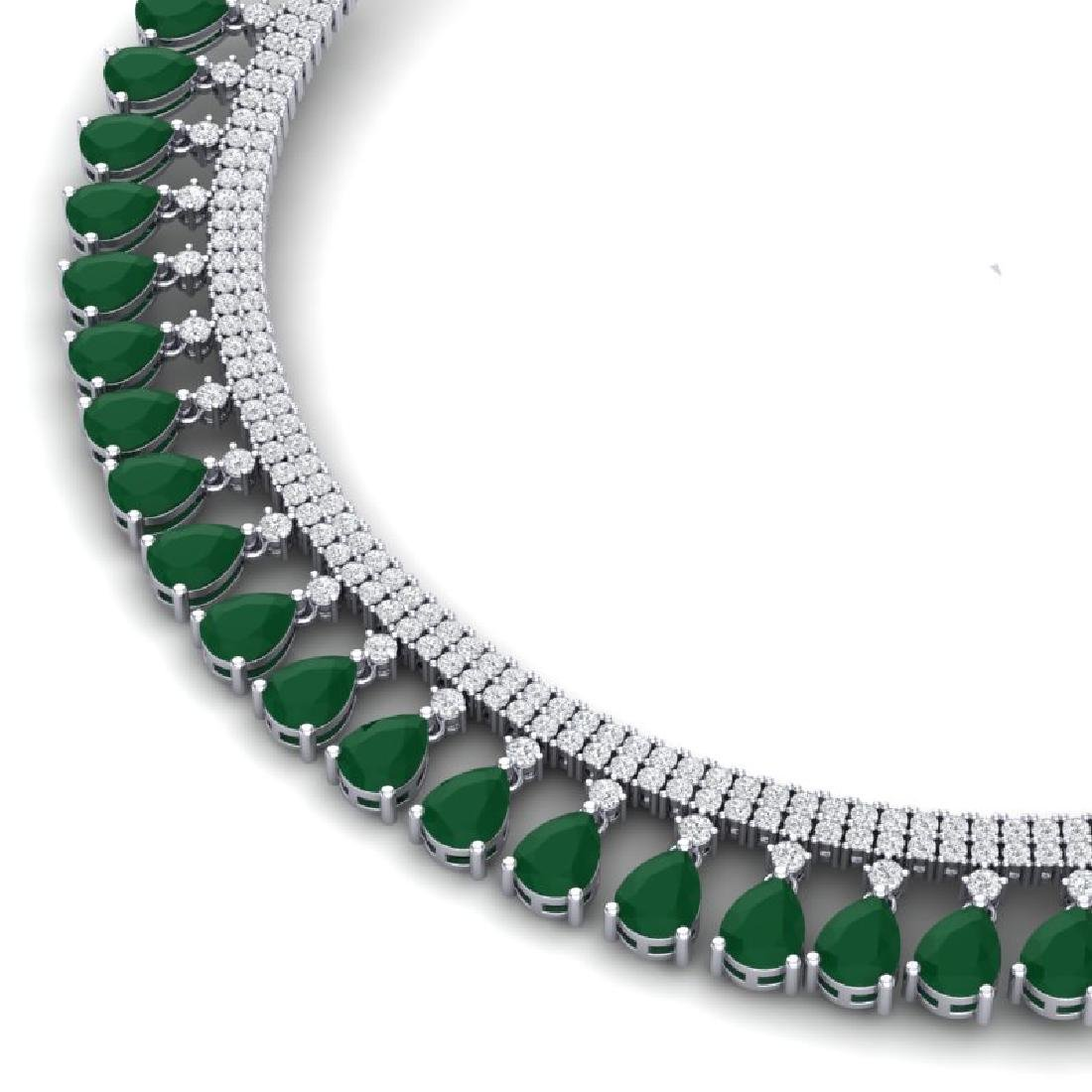 51.75 CTW Royalty Emerald & VS Diamond Necklace 18K - 2